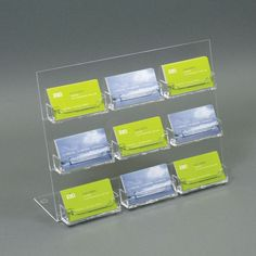 Acrylic Slant-back Countertop Business Card Holder (9 Pockets)