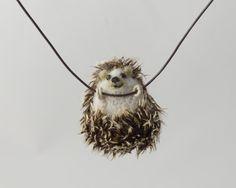 Hedgehog necklace  Felted Hedgehog pendant  Tiny by LilenokArt
