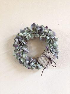 アンティーク紫陽花のリース、鈴蘭のスワッグ、プレート
