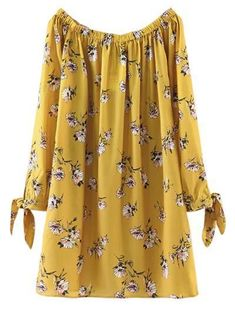 Floral Off Shoulder Shift Dress - YELLOW M Style: Casual Occasions: Causal Material: Cotton Blend Silhouette: Straight Dress Type: Tunic Dress Dresses Length: Mini Collar-line: Off The Shoulder Sleeves Length: Long Sleeves Pattern Type: F Stylish Dresses, Cute Dresses, Casual Dresses, Fashion Dresses, Floral Dresses, Vintage Dresses, Casual Wear, Clothing Patterns, Dress Patterns