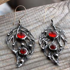 """Купить Серьги """"Калина"""" стекло, металл. - комбинированный, сережки, стекло, сережки со стеклом"""