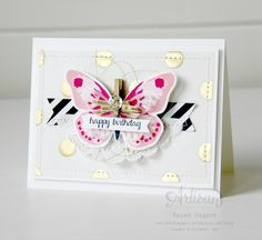 The Watercolor Wings stamp set and the Bold Butterfly Framelits are definitely must have items from the new catalogue! ~ Sarah Sagert