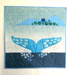 "Whale Tail 25 x 25"", one-of-a-kind quilt by Sea Quilts Shop at Etsy"