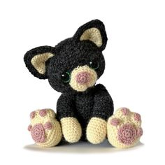This is Charlie, the sweetest little kitten, looking for a new friend. Charlie measures about 8 inches sitting in a DK yarn, but he can be made from any weight yarn and appropriate hook for different sizes. The pattern contains instructions for both a jointed kitten and a kitten with fixed arms and legs. It is an easy pattern to follow with plenty of photos and diagrams and you will always be welcome to contact me for any extra help.This pattern in US Terminology.Materials needed:• 100g…