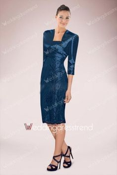 Best Appliqued Beaded Knee-length Ruched Sheath Mother of the Bride Dress - Shop Online for Cheap Mother of the Bride Dresses