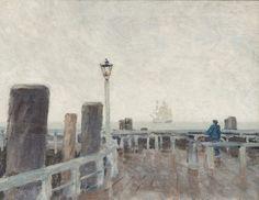 Paul Kayser (German, 1869–1942), Pier in Travemünde. Oil on canvas, 42.5 x 55 cm.