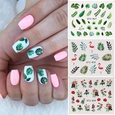 May 2020 - 19 Designs Nail Stickers Green Leaf Flamingo Flowers Cactus Water Decals Nail Art Decorations Wraps Flakes Sliders Manicure Flower Nail Designs, Cute Nail Designs, Acrylic Nail Designs, Nails With Flower Design, Tropical Nail Designs, Green Nail Designs, Bright Summer Acrylic Nails, Best Acrylic Nails, Spring Nails