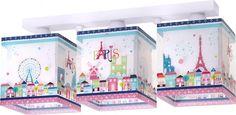 Paris εφηβικό φωτιστικό οροφής τρίφωτο διπλού τοιχώματος σε ράγα Pvc, Decorative Boxes, Mansions, House Styles, Design, Painting, Motifs, Home Decor, Disney