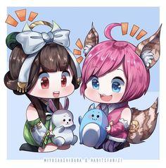 """ Chang'e x Nana . Lineart by Coloring BG by . OMG I love those colors! Anime Chibi, Kawaii Anime, Manga Anime, Anime Art, Mobiles, Best Gaming Wallpapers, Cute Cartoon Wallpapers, Bang Bang, Pink Wallpaper Anime"