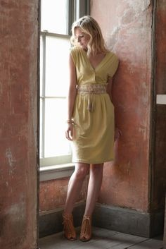 Matilda Dress in Wheat - Synergy organic & fair trade clothing