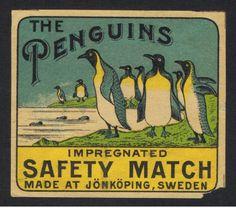 Matchbox-label-Sweden-Swedish-JUNEBRO-THE-PENGUINS-PACKET-REG-10-6-1911-R