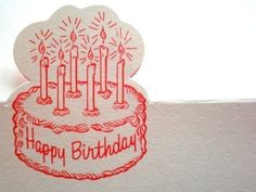 VINTAGE PLACE CARD  GLOWING BIRTHDAY CAKE