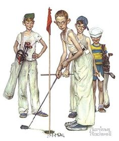 """This Norman Rockwell """"Missed! foil etch print was produced by Brown and Bigelow in the Norman Rockwell """"Missed! Norman Rockwell Prints, Norman Rockwell Paintings, Golf Painting, Painting Prints, Art Paintings, Art Prints, Wall Canvas, Canvas Prints, Canvas Artwork"""