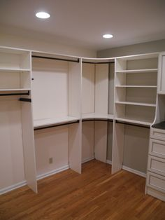 corner closet storage | Master Closet View of Hamper and Shoe Shelves