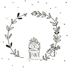 Black and White whimsical wreath illustration, animal illustrations, line art, line drawings, woodland creatures • #linedrawing #childrenillustrator #childrenbookillustration #woodlandcreature