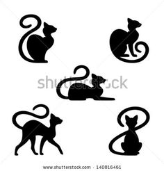Black cat set - stock vector