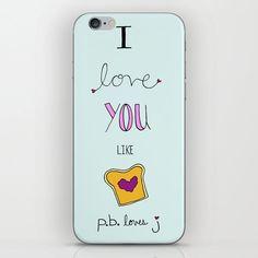 PB Loves J iPhone Skin by kimpiperhiatt Iphone Skins, Cute Gifts, Jelly, Peanut Butter, Phone Cases, My Love, Beautiful Gifts, Jelly Beans, Nut Butter