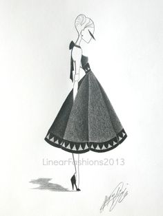 Fashion illustration original drawing pencil art by LinearFashions, 1950s ball gown
