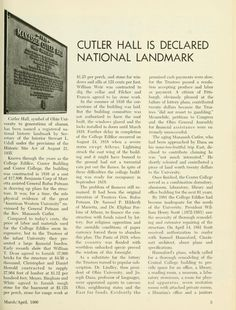 """The Ohio Alumnus, March-April 1966. """"Cutler Hall Is Declared National Landmark"""" """"Cutler Hall, symbol of Ohio University to generations of alumni, has been named a registered national historical landmark by the Secretary of the Interior Stewart L. Udall under the provisions of the Historical SitE act of August 21, 1935."""" :: Ohio University Archives"""