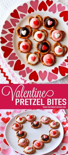 Valentine Heart Pretzel Bites. Mini-twist pretzels with candy melt centers and heart sprinkles make these sweet and salty treats perfect to snack on or to package up as a sweet gift idea