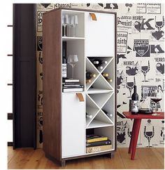 This bookshelf and wine-rack combo for $899 saves space and offers some hidden compartments.