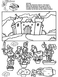 Castle and knights coloring page Medieval Crafts, Medieval Party, Castle Crafts, Castle Party, Knight Party, Dragon Knight, Dragons, Coloring Book Pages, Conte