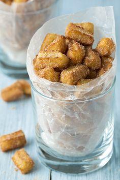 Churro Bites Cinnamon Churros Churro Snacks by HappyBakeShop Mexican Food Recipes, Sweet Recipes, Dessert Recipes, Mexican Desserts, Party Desserts, Cupcakes, Mini Churros, Churro Bites, Tapas