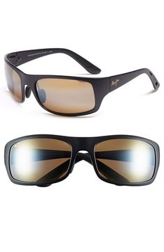 Men's Maui Jim 'Haleakala' Polarized Wrap Sunglasses - Matte Black/ Hcl Bronze