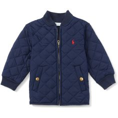 Quilted Baseball Jacket (€24) ❤ liked on Polyvore featuring outerwear, jackets, blue quilted jacket, quilted jacket and blue jackets