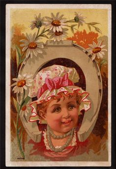 Child in Horseshoe Victorian Greeting Card