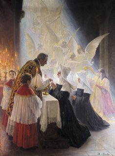 Angelo von Courten (1848 - 1925) - Holy communion