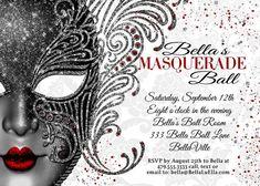 Masquerade Party Masquerade Invitation Mardi Gras by BellaLuElla Masquerade Party Invitations, Masquerade Theme, Masquerade Ball, Birthday Party Invitations, Wedding Invitation, Business Invitation, 50th Party, Sweet 16 Birthday, 16th Birthday