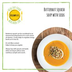 Good4U - Blog. Find out the health benefit of this super easy butternut squash soup with seeds and a natural yoghurt swirl! For the recipe follow the link! Eat clean. Clean eating. Healthy. Easy. Eating Healthy, Get Healthy, Clean Eating, Clean Plates, Clean Clean, Butternut Squash Soup, Vitamin C, Super Easy, Benefit