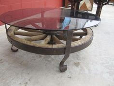 wagon wheel coffee table vintage | Antique Wagon Wheel Coffee Table Antique Furniture from ...