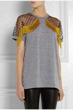 TNTees | Kate fringed mesh-paneled jersey top | NET-A-PORTER.COM