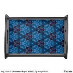Hip Fractal Geometric Royal Blue Patterns