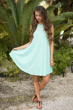 Bright Skies Calling Dress Seafoam - The Pink Lily