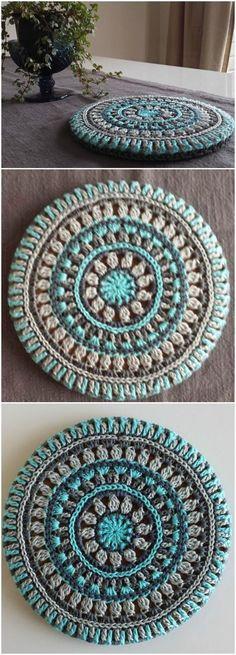 Crochet Mandala Trivet Cover - Free Crochet Mandala Patterns - Page 3 of 12 . - Crochet Mandala Trivet Cover - Free Crochet Mandala Patterns - Page 3 of 12 . Crochet Diy, Crochet Amigurumi, Love Crochet, Crochet Gifts, Crochet Braids, Crochet Ideas, Crochet Rugs, Afghan Crochet, Crotchet Patterns Free