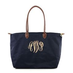 "Dixieland Monogram - MONOGRAMMED LARGE ""LONGCHAMP"" TOTE BAG-NAVY (20.5"" W x 12"" H x 7.5"" Length of the Bottom. Handle is 11 inches.)"