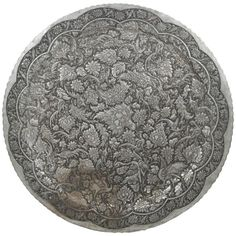 Antique Persian Silvered Wall Tray | From a unique collection of antique and modern decorative art at https://www.1stdibs.com/furniture/wall-decorations/decorative-art/