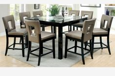 9 PC Black Wood Counter Height Dining Set Mirror Top Leather Chairs