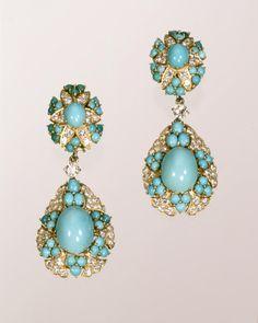 Cartier Earrings, 1960; turquoise, diamonds, gold