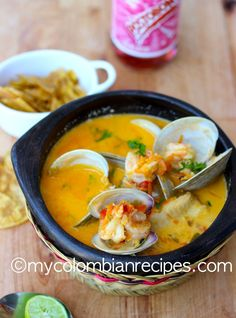 Cazuela de Mariscos (Seafood Stew) - - Colombia is bordered by the Atlantic and the Pacific Oceans, which provides the country with great seafood. This delicious creamy Cazuela de Mariscos is quick. My Colombian Recipes, Colombian Cuisine, Fish Recipes, Seafood Recipes, Cooking Recipes, Healthy Recipes, Cuban Recipes, Turkey Recipes, Sauce Recipes