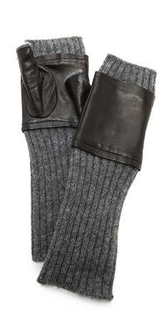 Carolina Amato Fingerless Knit & Leather Gloves | SHOPBOP