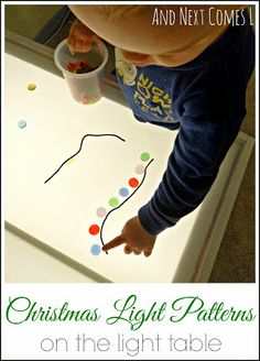 Create Christmas light patterns on the light table from And Next Comes L Make it even better by putting actual Christmas lights on the table too!