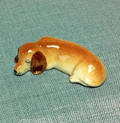 Miniature Ceramic Dog Dachshund Sleeping Animal Cute Little Tiny Small Brown Figurine Statue Decoration Collectible Hand Painted Figure Deco