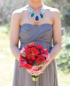 Red Bridesmaid Bouquet | Luna Photo | blog.theknot.com
