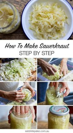 How to make sauerkraut at home - quick and easy fermented cabbage recipe with step by step instructions photos Recipes step by step Quick Sauerkraut Recipe (With Step-By-Step Photos) - Irena Macri Easy Sauerkraut Recipe, Fermented Sauerkraut, Homemade Sauerkraut, Fermented Cabbage, Pickled Cabbage, Canning Cabbage, Fermented Vegetables Recipe, Pickled Apples, Home Canning