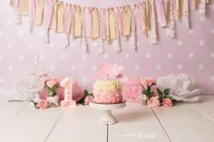 Cake smash pink gold floral roses girl  Ashleigh Whitt Photography - cleveland cake smash photographer