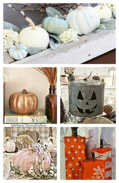 10 Unique DIY Pumpkin Ideas & Merry Monday Link Up Party - Intelligent Domestications Halloween Home Decor, Fall Home Decor, Unique Home Decor, Halloween Ideas, Craft Projects For Adults, Diy Projects, Diy Pumpkin, Pumpkin Crafts, Pumpkin Ideas